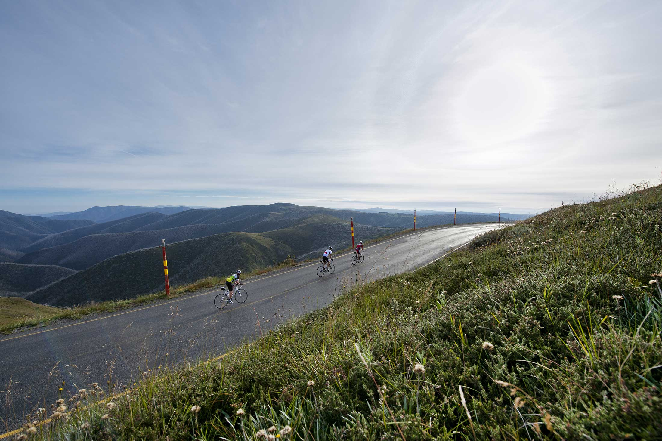 Cycling up Mt Hotham in Summer